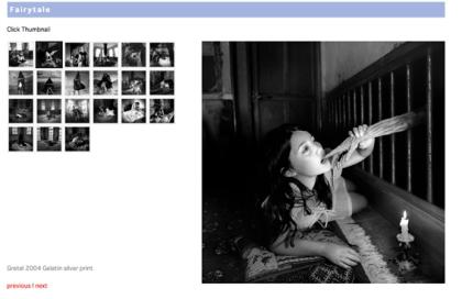 """Página web de la serie """"Fairytale"""", de Miwa Yanagi. La fotografía destacada es """"Gretel"""" (2004). Imagen linkada a la web de Yanagi"""