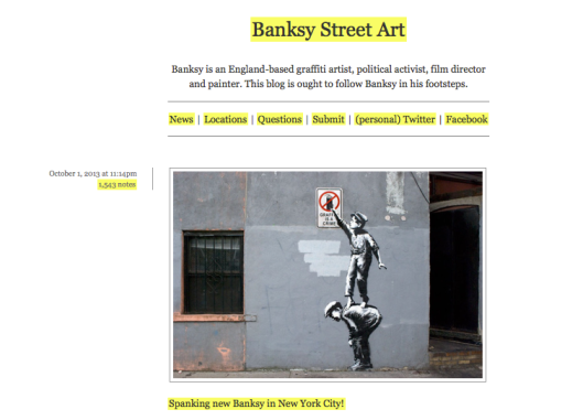 "Imagen de un blog que sigue la obra de Banksy. En la web del artista, en el apartado ""tienda"" apunta un mensaje claro: ""You're welcome to download whatever you wish from this site for personal use. However, making your own art or merchandise and passing it off as 'official' or authentic Banksy artwork is bad and very wrong""... Thank-you, Banksy!"