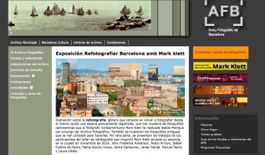 web de la Exposición Refotografiar Barcelona amb Mark klett, Arxiu Fotogràfic de Barcelona