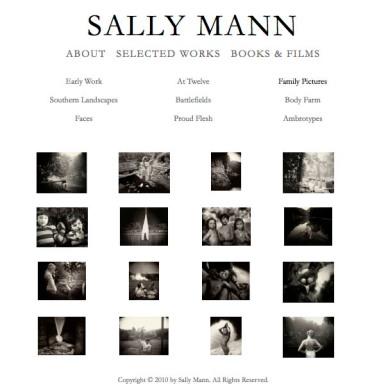 """Captura de la página web de Sally Mann (con link al website), donde pueden verse algunas imágenes de la serie """"Immediate Family"""""""