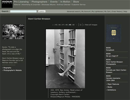 Página web de Magnum donde pueden verse algunas de las imágenes de Cartier-Bresson, que fue uno de los fundadores de la agencia.