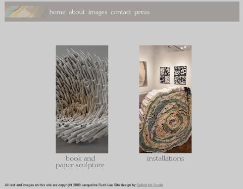 Página web de la artista en la que pueden verse las dos vertientes de su trabajo