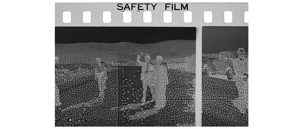 Akram Zaatari, Safety Film, 2017. Close-up of a 35mm negative by Antranick Bakerdjian, Jerusalem, 1950s. Courtesy of the artist.