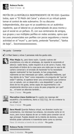 """Uno de los """"pantallazos"""" del facebook que puedes encontrar el """"Los nuevos inquilinos: ensayos para un mundo pendiente""""."""