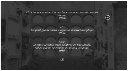 Querido Epitafio (detalle de la web), Montse Morcate, 2008