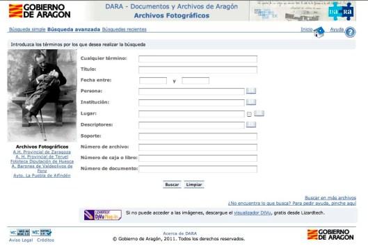 Página de búsqueda en archivos fotográficos aragoneses del DARA