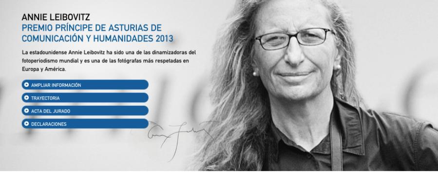 Detalle de la web del Premio Príncipe de Asturias