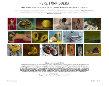 Detalle de la web de Pere Formiguera con la obra Diàlegs amb la pintura (2004/06)