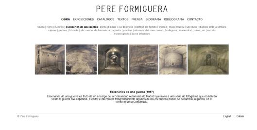 Detalle de la web de Pere Formiguera con la obra Escenarios de una guerra (1987)