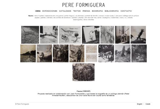 Detalle de la web de Pere Formiguera con la obra Fauna, realizada junto a Joan Fontcuberta en  1983-1987