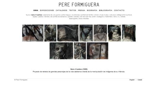 Detalle de la web de Pere Formiguera con la obra  Nens il·lustres (1985)