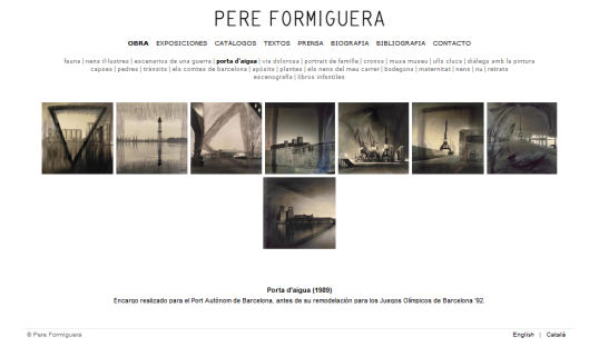 Detalle de la web de Pere Formiguera con la obra Porta d'aigua (1989)