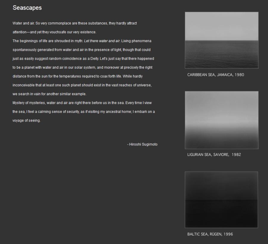 Detalle de la web de Hiroshi Sugimoto, en la que podéis encontrar una descripción y algunas imágenes de sus SEASCAPES (1980-1996)