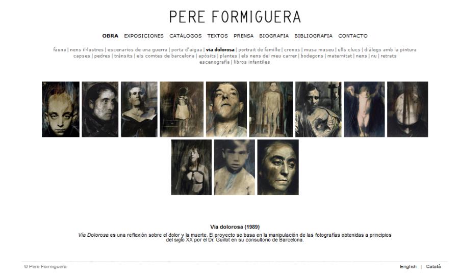 Detalle de la web de Pere Formiguera con la obra Vía Dolorosa (1989)