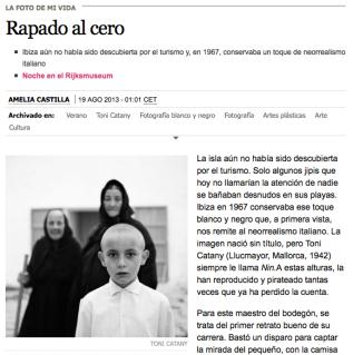 """""""Pantallazo"""" de la sección LA FOTO DE MI VIDA, del diario El País (de este pasado mes de agosto) en la que la imagen seleccionada es una de las más conocidas de la época como fotorreportero de La Vanguadia de Toni Catany"""