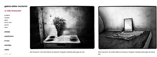 Captura de pantalla de la web de la galería Esther Montoriol con 3 obras de Vida Yovanovich