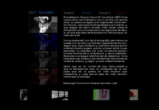 Web de Vari Caramés con una presentación del artista