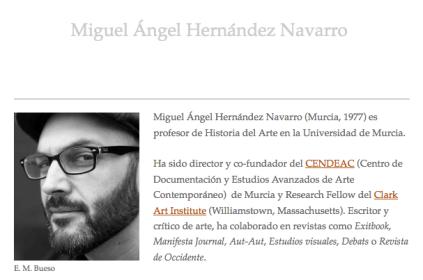 Detalle de la biografía de Miguel Ángel Hernandez Navarro en su web