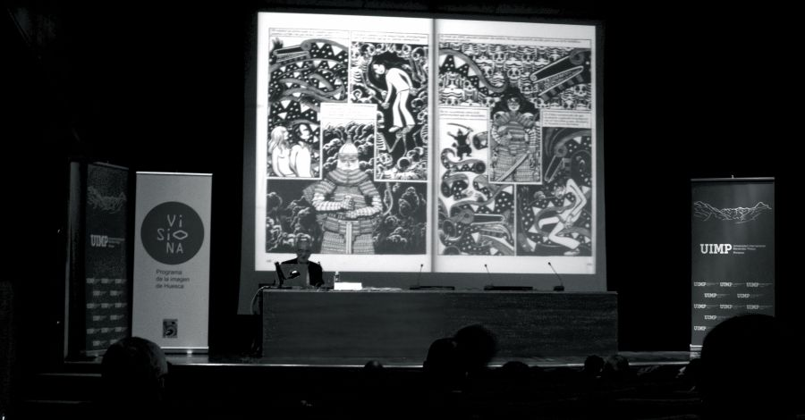 """Momento de la conferencia de Antonio Altarriba en el curso """"El álbum familiar: otras narrativas en los márgenes"""", 2013"""