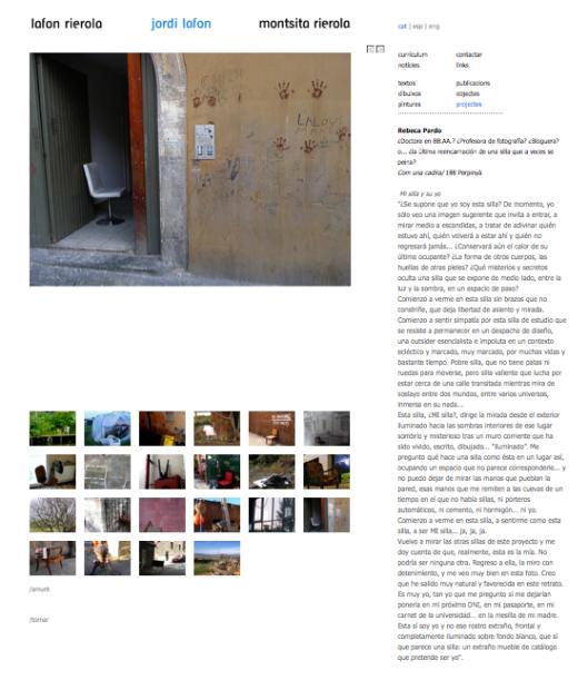 Detalle de la web de Jordi Lafon, con el proyecto Com una cadira, en el que disfruté colaborando
