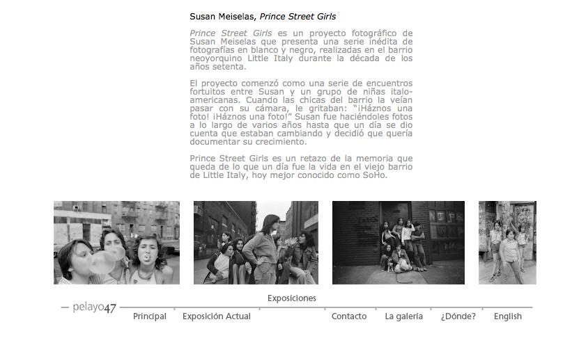 Detalle de la página de la exposición en la web de la galería