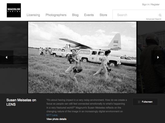 Detalle con una cita de Susan Meiselas en la web de la agencia Magnum Photos