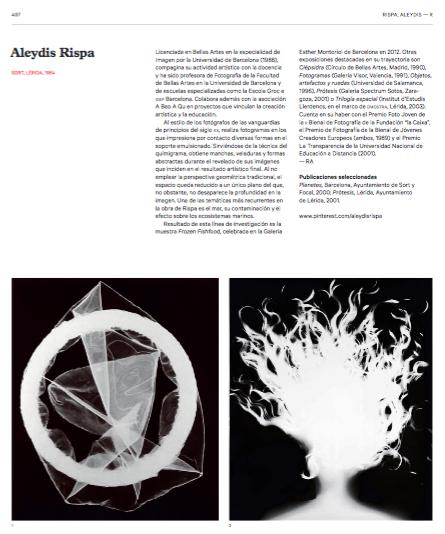 Captura de pantalla de la página dedicada a Aleydis Rispa en versión en pdf, Online, del Diccionario de fotógrafos Españoles.