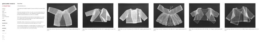 Captura de pantalla de la web de la galería Esther Montoriol con imágenes de TRIPLE MEMÒRIA, 2013, de Aleydis Rispa