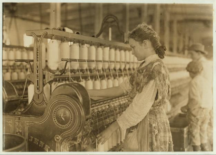 Spinner in Vivian Cotton Mills, Cherryville, North Carolina: Been at it Two Years. Where Will Her Good Looks Be in Ten Years?, 1908, Lewis W. Hine.