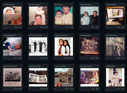 Captura de la búsqueda de instagram con la etiqueta de fotografía familiar